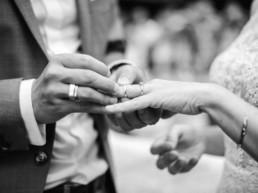 Freie Trauung oder Elopement: Hochzeit von Brautpaar Julia und Tom mit freier Trauung und Ringetausch auf einer Wiese in den Bergen im Bayerischen Wald fotografiert von Hochzeitsfotografin veronika anna fotografie aus München