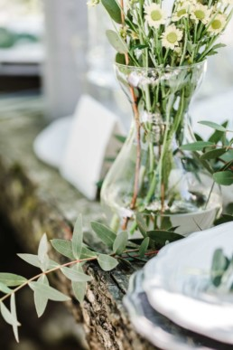 Inspiration für die Tischdekoration auf einer Natural Wedding