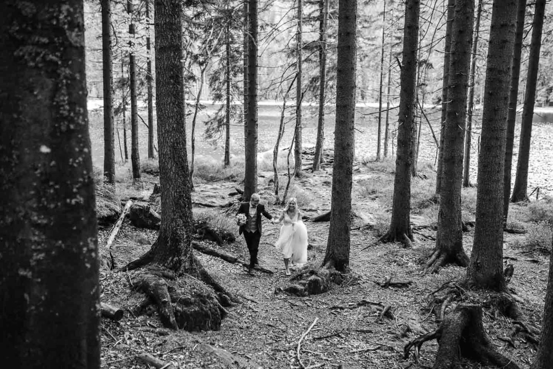 Waldspaziergang Braut und Bräutigam