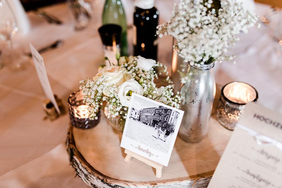 Tischset rustikal mit Birkenholz und Glas