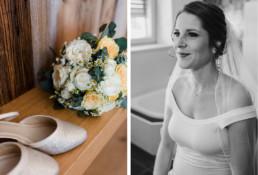Getting Ready der Braut am Hochzeitstag fotografiert bei nachhaltiger Hochzeit in Oberösterreich.