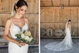 Braut am Tag ihrer Hochzeite fotografiert von Veronika Anna Fotografie am Irghof Obernberg