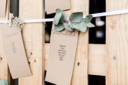 Sitzplan auf Kraftpapier bei nachhaltiger Scheunenhochzeit am Wild-Berghof Buchet