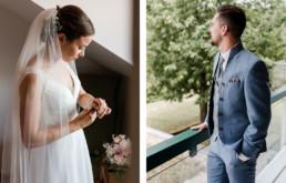 Brautpaar macht sich bereit am Hochzeitsmorgen in Deggendorf , bayerischer Wald Wildberghof Buchet