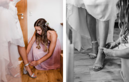 Getting Ready der Braut mit Hilfe der Trauzeugin fotografiert am Wildberghof Buchet, bayerischer Wald