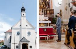 Bräutigam wartet in der Kirche auf die Braut bei krichlicher Trauung in Deggendorf mit Hochzeitsfotografin Veronika Anna Fotografie