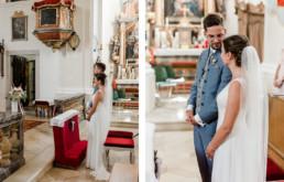 Brautpaar in der Kirche, fotografiert von Veronika Anna Fotografie, Hochzeitsfotograf Deggendorf