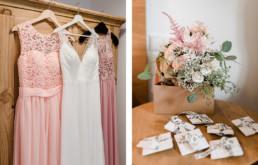 Kleider der Braut und Trauzeugen, fotografiert von Veronika Anna Fotografie in Wild-Berghof Buchet