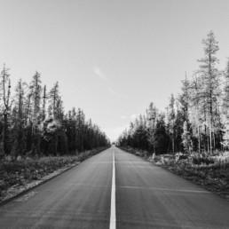 Schwarz Weiß Aufnahme der kanadischen Straßen von Veronika Anna Fotografie